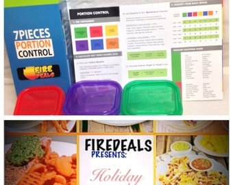 7 Piece Portion Control Containers Kit For Weight Loss Eat Healthy and Balanced, Free HOLIDAYS RECIPES E-Book +Planner Guide Multi-Colored