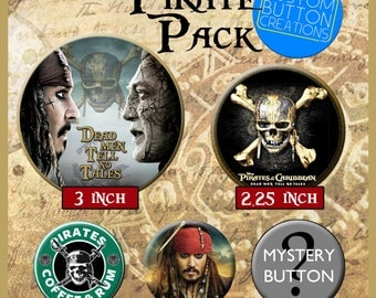 Pirate Pack - Set of 5 Pin Back Buttons - Pirates of the Carribean