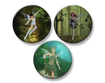 "FAIRIES Mystical Fairy Fridge Magnet Set - 3 Large 2.25"" Round Magnets"