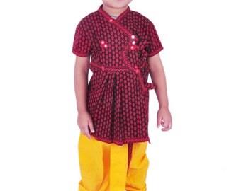 Boy's Dhoti Kurta & Turban, Indian Traditional, Ethnic, Handmade, Red Yellow Angrakha Set, Kedia Dress