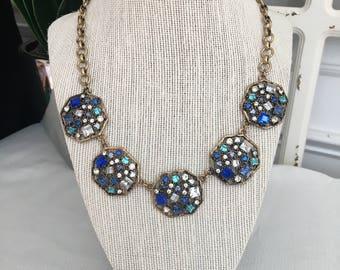 Blue Crystal Vintage Statement Necklace