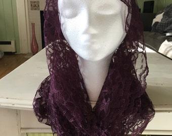 Deep Purple Lace Infinity Chapel Veil/Mantilla