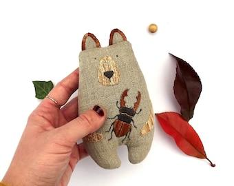 Woodland Plush Bear, Brown Bear Soft Toy, Forest Bear Softie, Hand Embroidered Teddy,Miniature Bear Art Doll, Woodland Kids Decor, Kids Gift