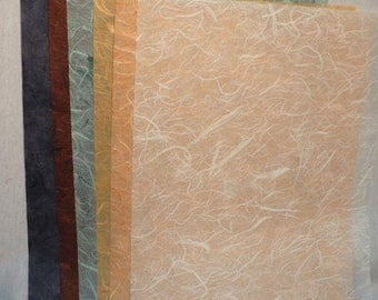 """Mulberry paper assorted colors 24 sheets, size:8.5"""" x 11""""."""
