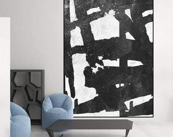 original painting,  black and white abstract art, canvas art,  large acrylic painting, modern art Contemporary Painting