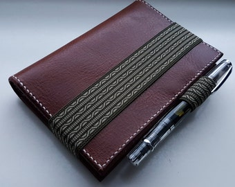 Georgette - Dark brown A6 leather planner cover Hobonichi Techo size