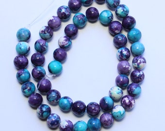 8mm Multi Colored Beads Blue Purple White Jade Rounds 15 inch Strand 48 Beads Stone Gemstone