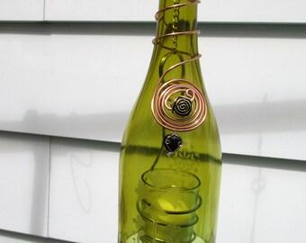 Handmade wine bottle votive holder