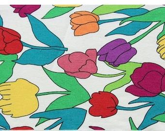 vivid vintage tulip/ flower fabric/ tulip fabric. vintage fabric/ 20's cotton/ kids room deco/ vivid color