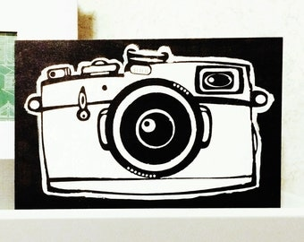 Handpainted wood sign; camera; black and white; minimal decor; photography;photo booth; craft room decor; rustic; unique; vintage camera