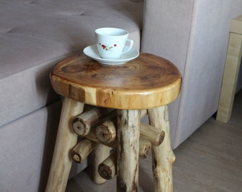 Wooden Stool Side Coffee Table Natural Eco Decor Rustic Handmade