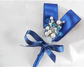Dark blue Boutonniere, Boutonniere  handmade,Mens wedding boutonnieres, Wedding boutonniere