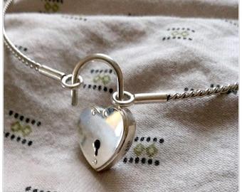 Valentine Heart Locking Collar, Discreet Day Collar, BDSM Collar, Submissive Day Collar, Choker, Silver Collar Choker, Submissive Jewelry