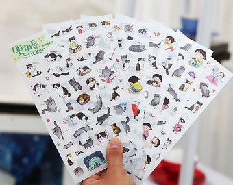 6pcs Cats' Diary Sticker,Label Sticker, Stationery Sticker, Scrapbooking Sticker, Planner Stickers, Decorative Stickers,Korean, Diary, Cat