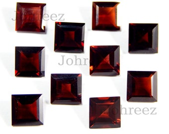 25 Piece Natural Garnet Square Shape Faceted Cut Loose Gemstone High Quality
