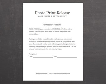 Photo Print Release Form   Photography Template For Photographers   MS Word  *Instant Download*