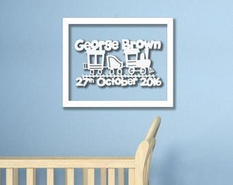 Personalised New Baby Train Framed Papercut- Boy Baby Shower Gift Print Cut