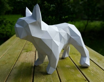 Frenchie, French Bulldog, papercraft, home decoration, paper animals,bulldog kit, polygonal decoration