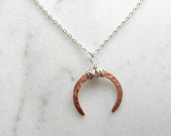 Hammered Copper Crescent Necklace
