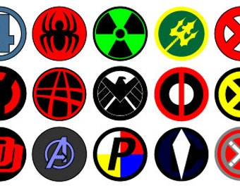 Avengers Logo Vectors Digital Printable Birthday Hulk Captain America Spiderman Thor Shield (27 designs)
