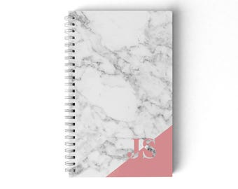 Personalised Marble Notebook.  Hard Cover Spiral Notebook. Notepad. Journal.