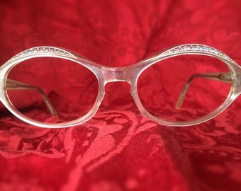 CLEARANCE:Vintage 1960s Oval eyeglasses frames/spectacles, diamond crusted top rims with iridescent white & clear frames by Frame France TWE