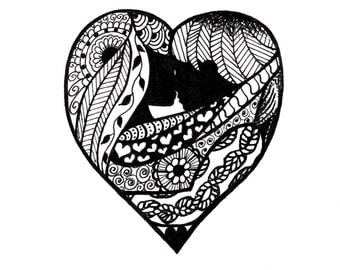 Love, Instant Digital Download of Original Drawing. Heart, Zentangle, Valentine's Gift, Anniversary, Lovers, Couple, Illustration, Marriage