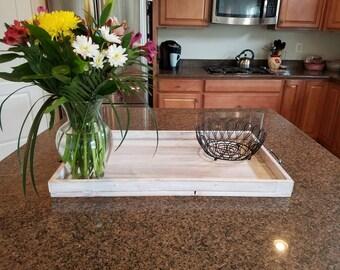 Handmade Whitewashed Wood Serving Tray