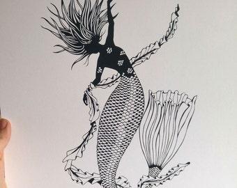 Mermaid - A3 Screenprint - Black