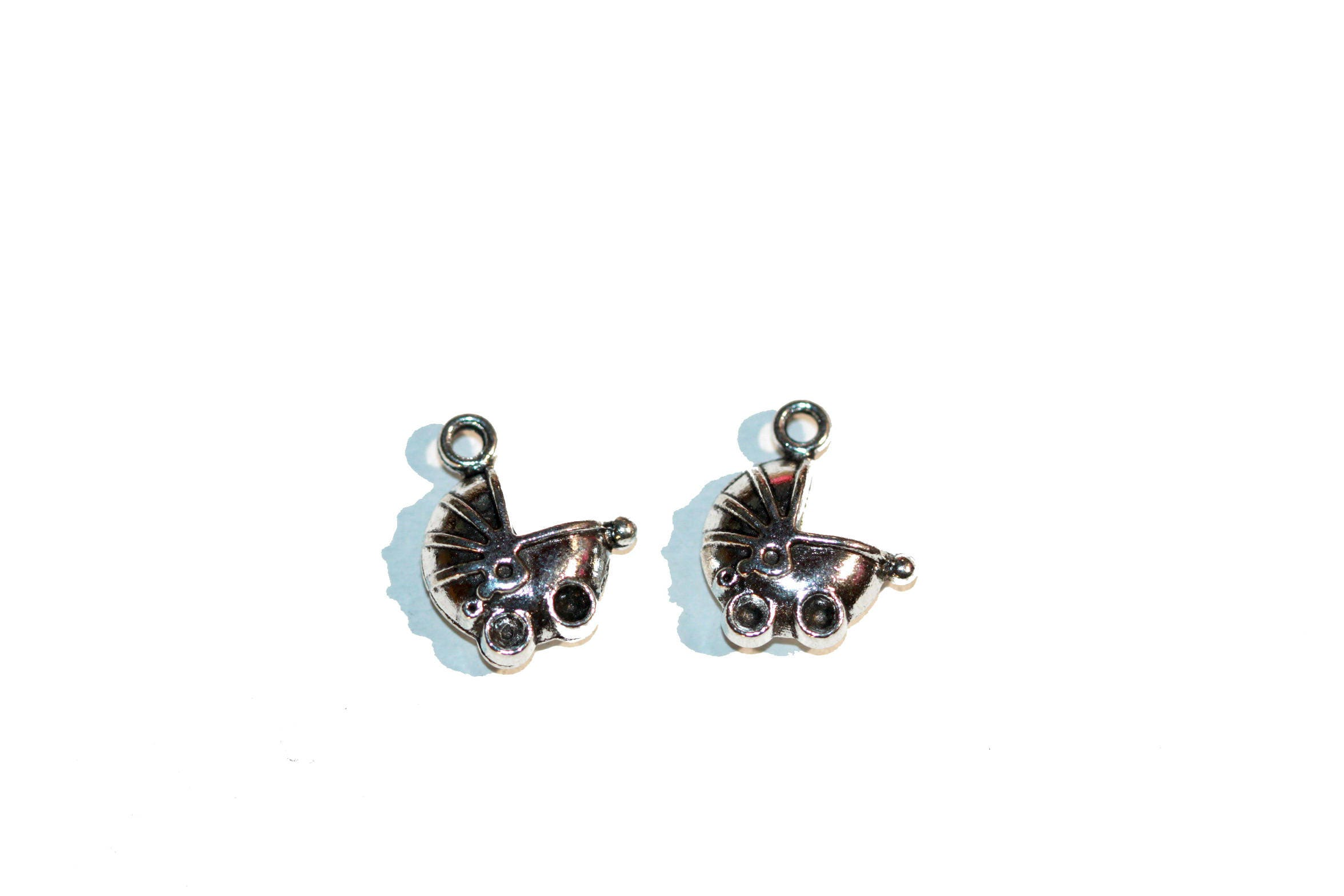 Baby Charms Silver Tone Baby Carriage Baby Stroller Baby Charm