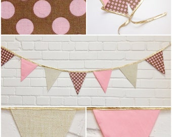 Banner flags Chic. Garland Jute, Golden, pink tissue and peas, Reversible and reusable. Party decoration child babyshower photoshoot