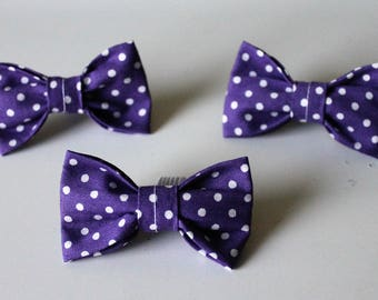 Doggy Bow Ties, Purple Polka Dot, Large, Medium, Small