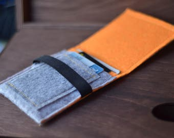 Grey/Orange felt wallet