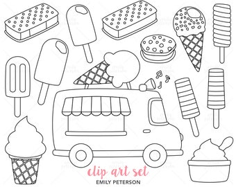Ice Cream Truck, Ice Lolly, Frozen Yogurt - Cute Digital Stamps, Line Art  - Commercial Use, Instant Download