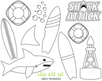 Shark, Ocean, Beach, Surfing - Cute Digital Stamps, Line Art  - Commercial Use, Instant Download