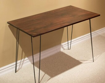 SPNW22 Solid Wood Pine Writing Desk Table w/2-rod Hairpin Legs
