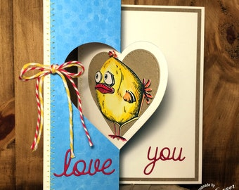 Handmade, love you card, flip card, heart, Valentine's day