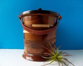 Vintage Wood Round Ice Bucket with Tooled Leather Handle/Roatan/ Block Wood