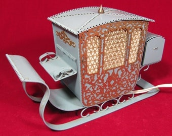 Beautiful Vintage Desk Night Lamp Luminaire Antique Carriage Coach Sleigh USSR