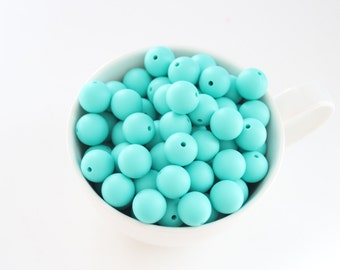 TURQUOISE 15 mm food grade silicone beads / Safe for baby teething