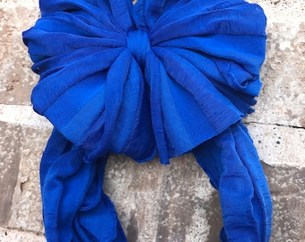 Royal Blue Ruffle Messy Bow Headband