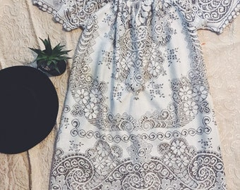 Off the shoulder bohemian queen dress.