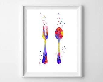 Watercolor Cutlery art, Cutlery, fork and spoon, room decor, fork, spoon, kitchen printable decor, digital download, digital file