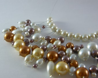 Necklace and Earrings Set Mocha Pearl Cluster