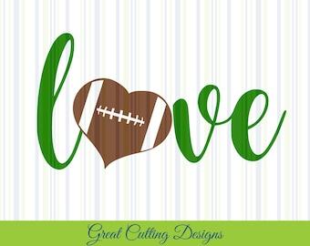 Love Football SVG Cut File heart svg DXF cut file Cricut svg Silhouette svg Vinyl Cut File Digital cut file Cricut cut Silhouette cut tshirt