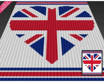 UK Heart crochet blanket pattern; c2c, cross stitch; knitting; graph; pdf download; no written counts or row-by-row instructions