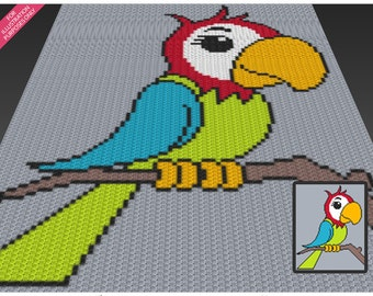 Colorful Parrot crochet blanket pattern; c2c, cross stitch; knitting; graph; pdf download; no written counts or row-by-row instructions