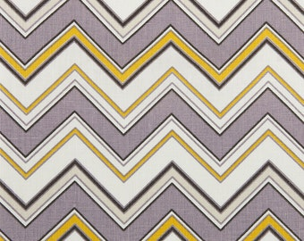 Linen Fabric By the yard Chevron Lavender on Ivory