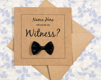 Wedding Gift Ideas For Jehovah Witness : witness card will you be my witness personalised 4x4 brown card black ...
