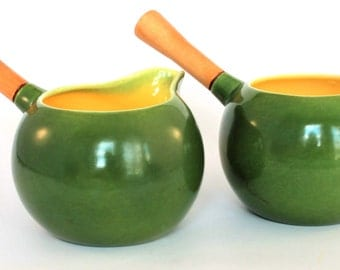 Vadna of California Pottery Green and Yellow Cream Pitcher and Sugar Bowl